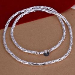 Vienna Jewelry Sterling Silver Thin Connecting Chain Necklace - Thumbnail 0