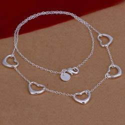 Vienna Jewelry Sterling Silver Multi Hollow Heart Dangling Necklace - Thumbnail 0
