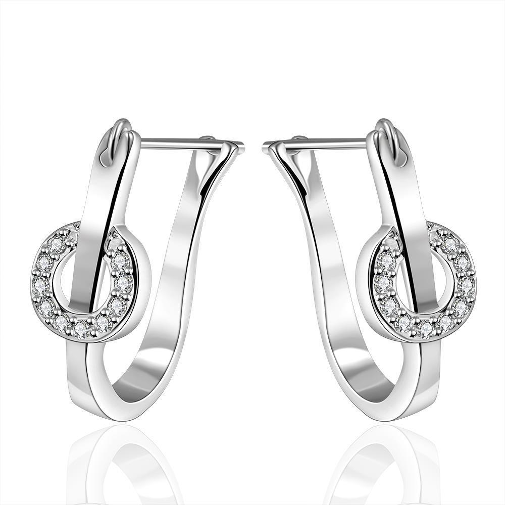 Vienna Jewelry Sterling Silver U Shaped Crystal Hoops