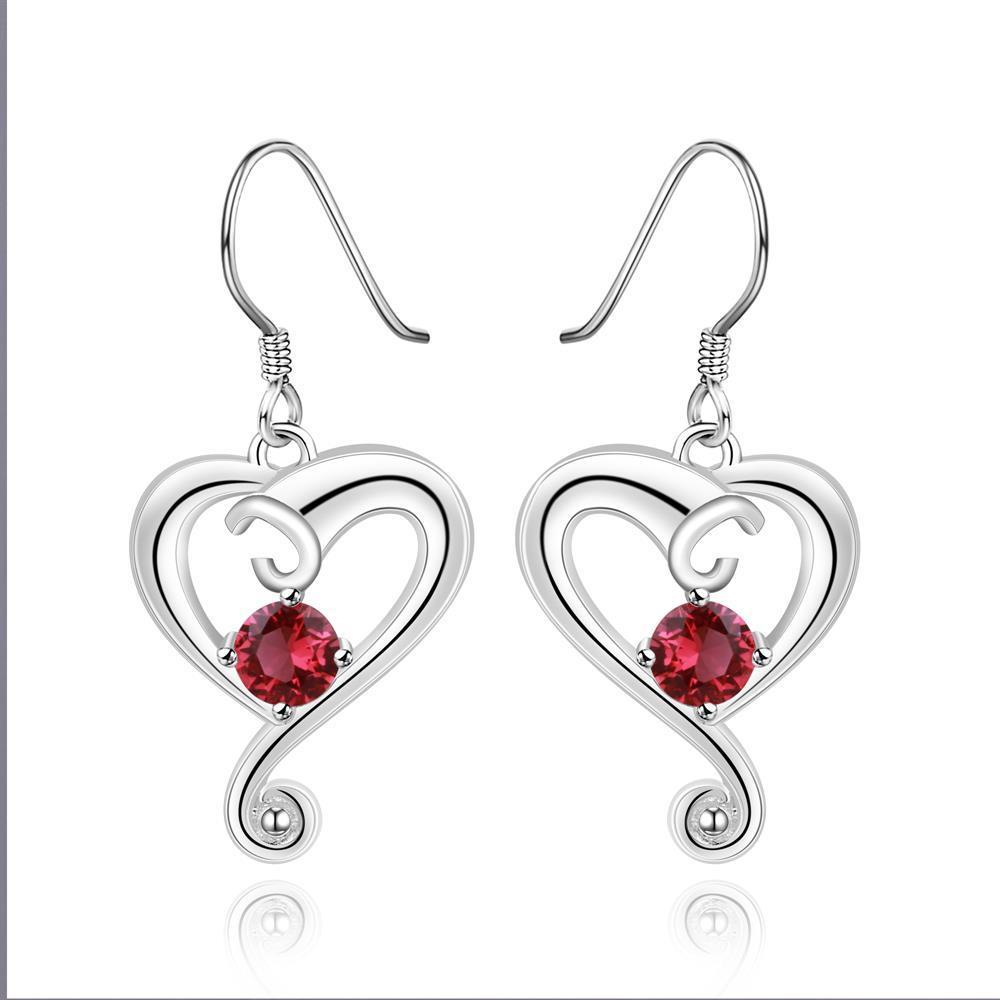 Vienna Jewelry Sterling Silver Ruby Curved Heart Drop Earring