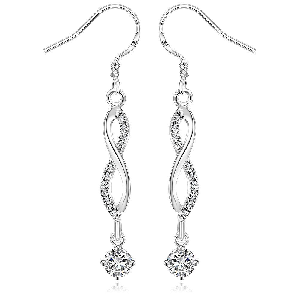 Vienna Jewelry Sterling Silver Thin Line Vertical Crystal Drop Earring