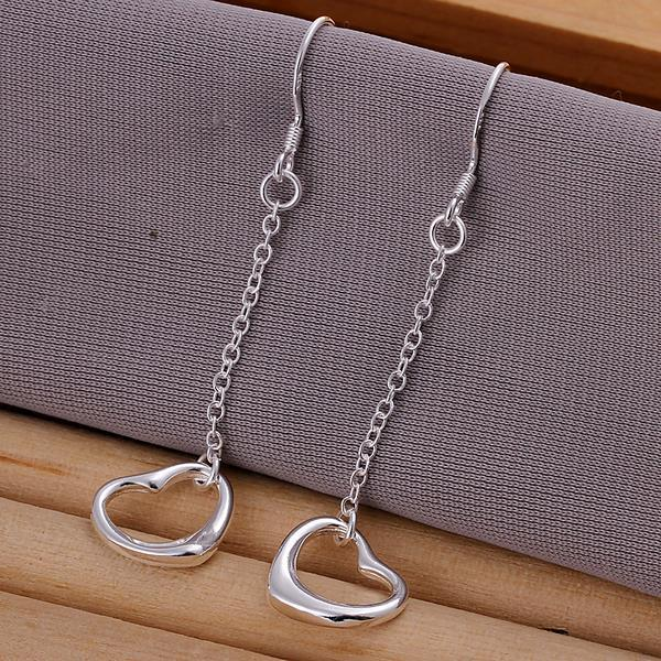 Vienna Jewelry Sterling Silver Hollow Heart Shaped Drop Earring