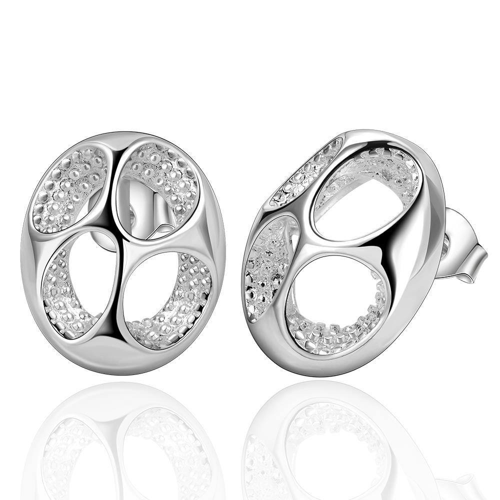 Vienna Jewelry Sterling Silver Hollow Quad Stud Earring