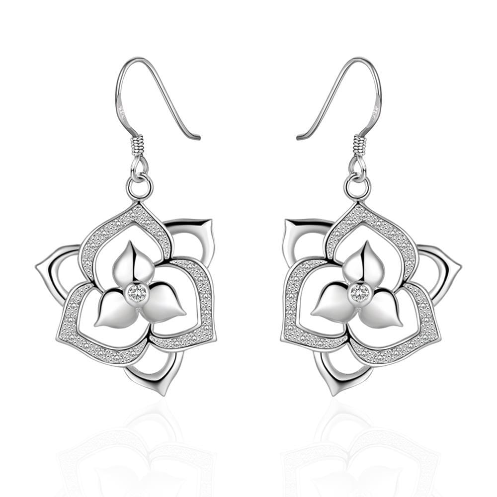 Vienna Jewelry Sterling Silver Laser Cut Flower Bud Drop Earring