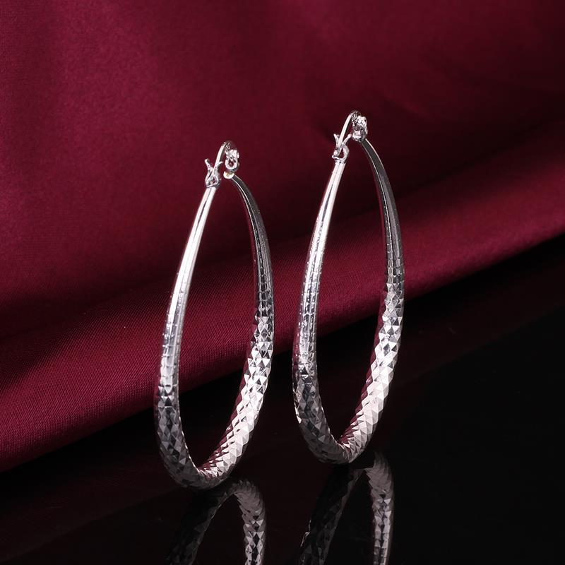 Vienna Jewelry Sterling Silver Cut Design Hoop Earring