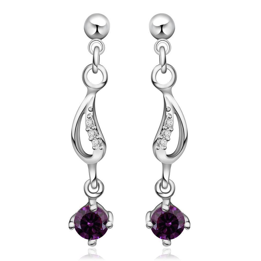 Vienna Jewelry Sterling Silver Purple Citrine Gem Drop Drop Earring