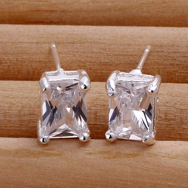 Vienna Jewelry Sterling Silver Classical Square Crystal Stud Earring