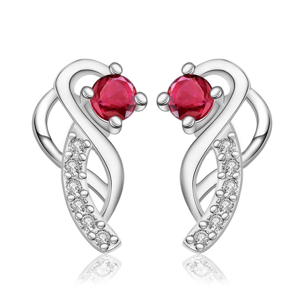 Vienna Jewelry Sterling Silver Abstract Curved Pendant with Ruby Covering Earring