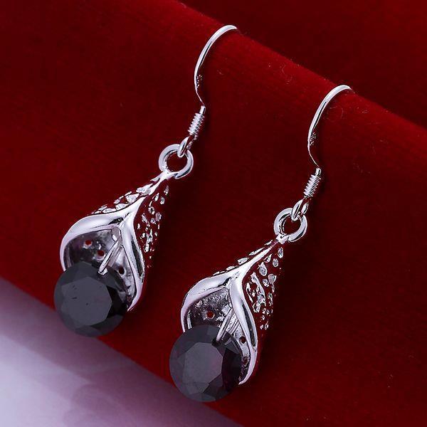 Vienna Jewelry Sterling Silver Mock Onyx Drop Earring