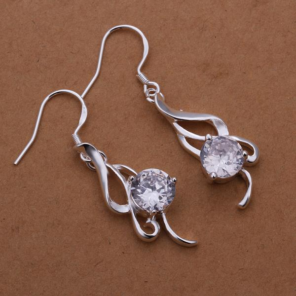 Vienna Jewelry Sterling Silver Laser Cut Emblem with Crystal Stone Earring