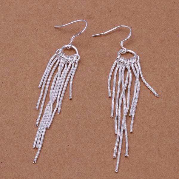 Vienna Jewelry Sterling Silver Drop Lining Earring