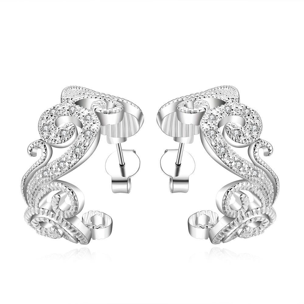 Vienna Jewelry Sterling Silver Curved Lining Hoops