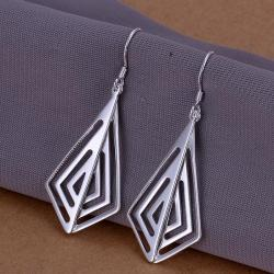 Vienna Jewelry Sterling Silver Laser Cut Triangular Drop Earring - Thumbnail 0
