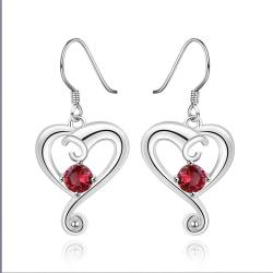 Vienna Jewelry Sterling Silver Ruby Curved Heart Drop Earring - Thumbnail 0