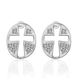 Vienna Jewelry Sterling Silver Hollow Cross Stones Stud Earring - Thumbnail 0