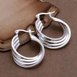 Vienna Jewelry Sterling Silver Multi Layered Hoops - Thumbnail 0