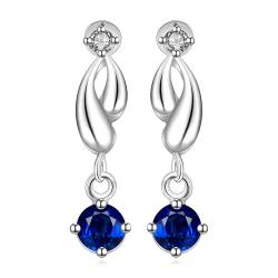Vienna Jewelry Sterling Silver Abstract Curved Sapphire Drop Earring - Thumbnail 0