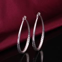 Vienna Jewelry Sterling Silver Cut Design Hoop Earring - Thumbnail 0