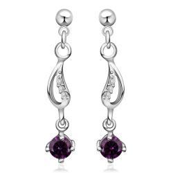 Vienna Jewelry Sterling Silver Purple Citrine Gem Drop Drop Earring - Thumbnail 0