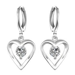 Vienna Jewelry Sterling Silver Drop Hollow Heart Stone Earring - Thumbnail 0