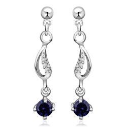 Vienna Jewelry Sterling Silver Sapphire Gem Drop Drop Earring - Thumbnail 0