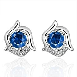 Vienna Jewelry Sterling Silver Curved Floral Sapphire Stud Earring - Thumbnail 0