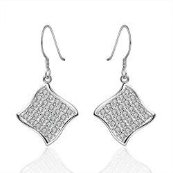 Vienna Jewelry Sterling Silver Crystal Rhomus Shaped Drop Earring - Thumbnail 0