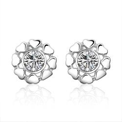 Vienna Jewelry Sterling Silver Surronding Heart Crystal Stud Earring - Thumbnail 0