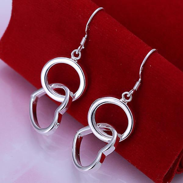 Vienna Jewelry Sterling Silver Drop Circular & Hearts Earring
