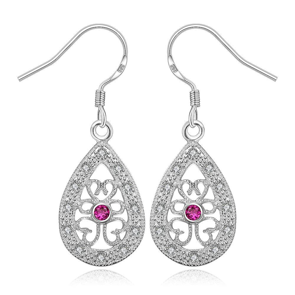 Vienna Jewelry Sterling Silver Hollow Clover Shaped Drop Earring