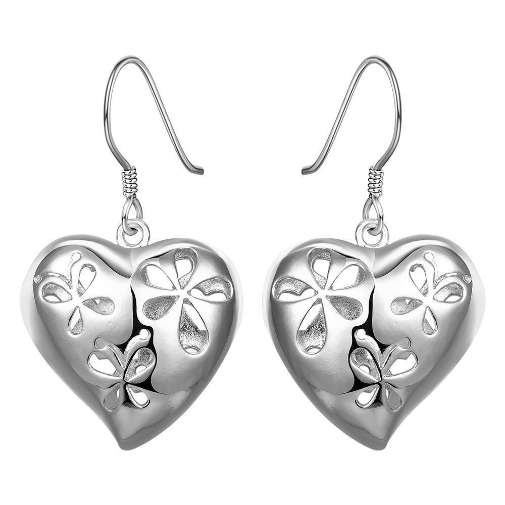 Vienna Jewelry Sterling Silver Filigree Heart Shaped Earring