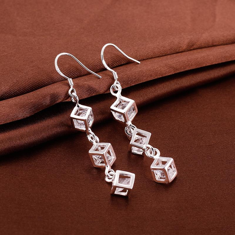 Vienna Jewelry Sterling Silver Drop Rubix Cube Earring - Thumbnail 0