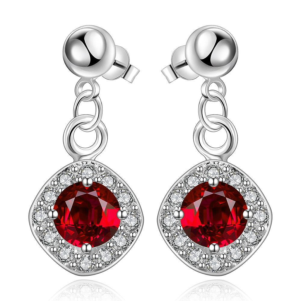 Vienna Jewelry Sterling Silver Ruby Gem Classical Drop Drop Earring