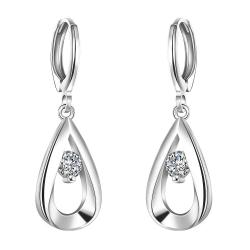 Vienna Jewelry Sterling Silver Curved Metal Crystal Drop Earring - Thumbnail 0