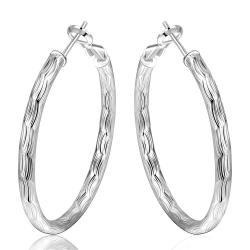 Vienna Jewelry Sterling Silver Mid Size Hoop Earring - Thumbnail 0