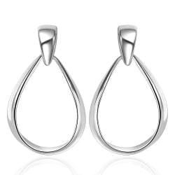 Vienna Jewelry Sterling Silver Modern Thin Lay Hoop Earring - Thumbnail 0