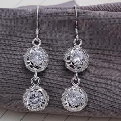 Vienna Jewelry Sterling Silver Laser Cut Duo-Balls Drop Earring - Thumbnail 0