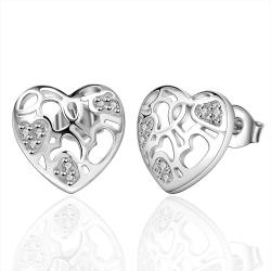 Vienna Jewelry Sterling Silver Laser Cut Floral Inprint Stud Earring - Thumbnail 0