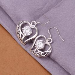 Vienna Jewelry Sterling Silver Petite Hollow Hearts with Crystals - Thumbnail 0