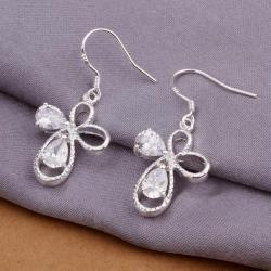 Vienna Jewelry Sterling Silver Petite Hollow Clover Shaped Earring - Thumbnail 0