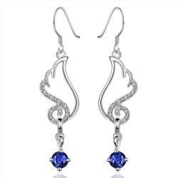 Vienna Jewelry Sterling Silver Butterfly Sapphire Wings Drop Earring - Thumbnail 0