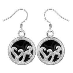 Vienna Jewelry Sterling Silver Curved Lining Pendant Drop Earring - Thumbnail 0