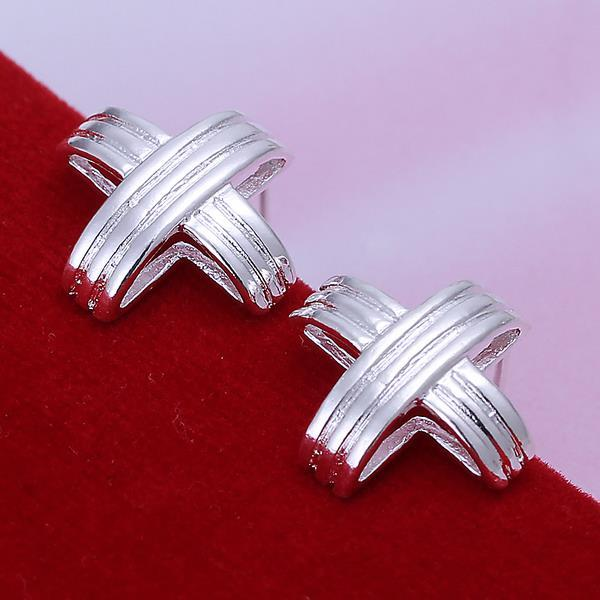 Vienna Jewelry Sterling Silver Wired Cross Stud Earring