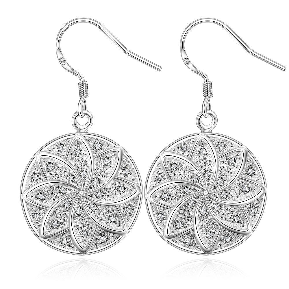 Vienna Jewelry Sterling Silver Swirl Stars Drop Earring