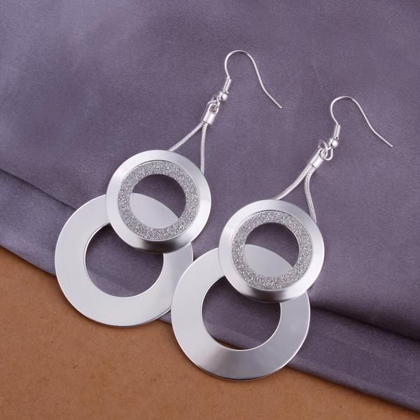 Vienna Jewelry Sterling Silver Duo-Circular Drop Earring