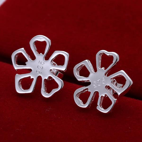 Vienna Jewelry Sterling Silver Hollow Floral Petal Stud Earring
