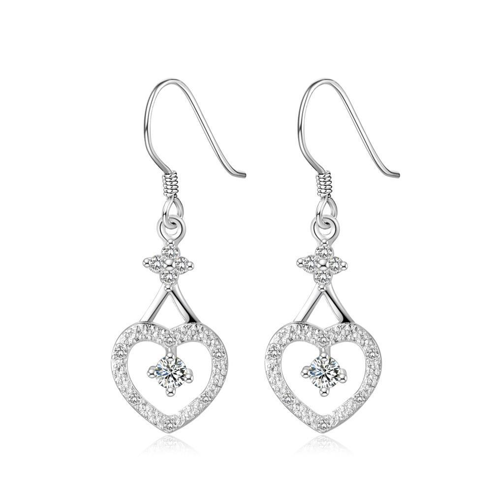 Vienna Jewelry Sterling Silver Drop Hearts Stones Inlay Earring