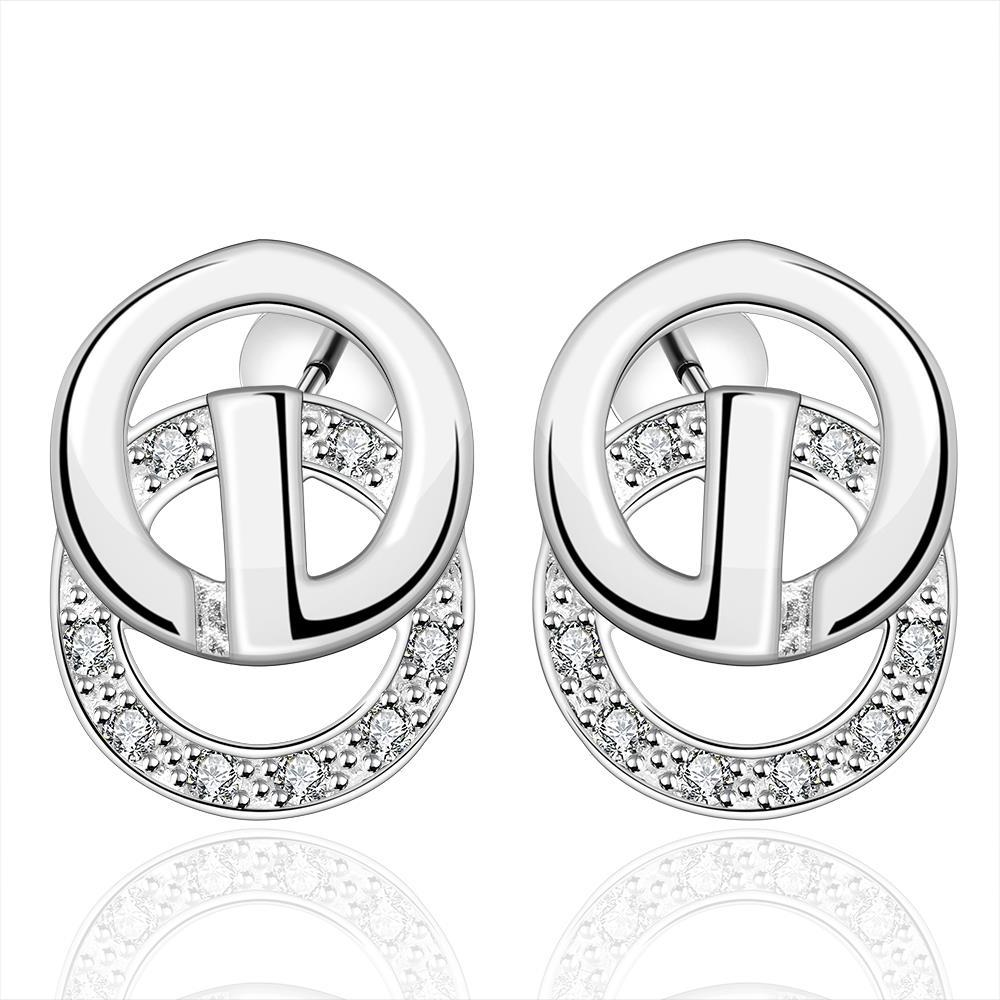 Vienna Jewelry Sterling Silver Duo-Circular Stud Earring