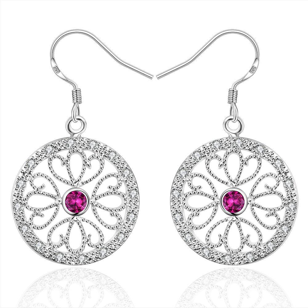 Vienna Jewelry Sterling Silver Laser Cut Floral Design Drop Earring