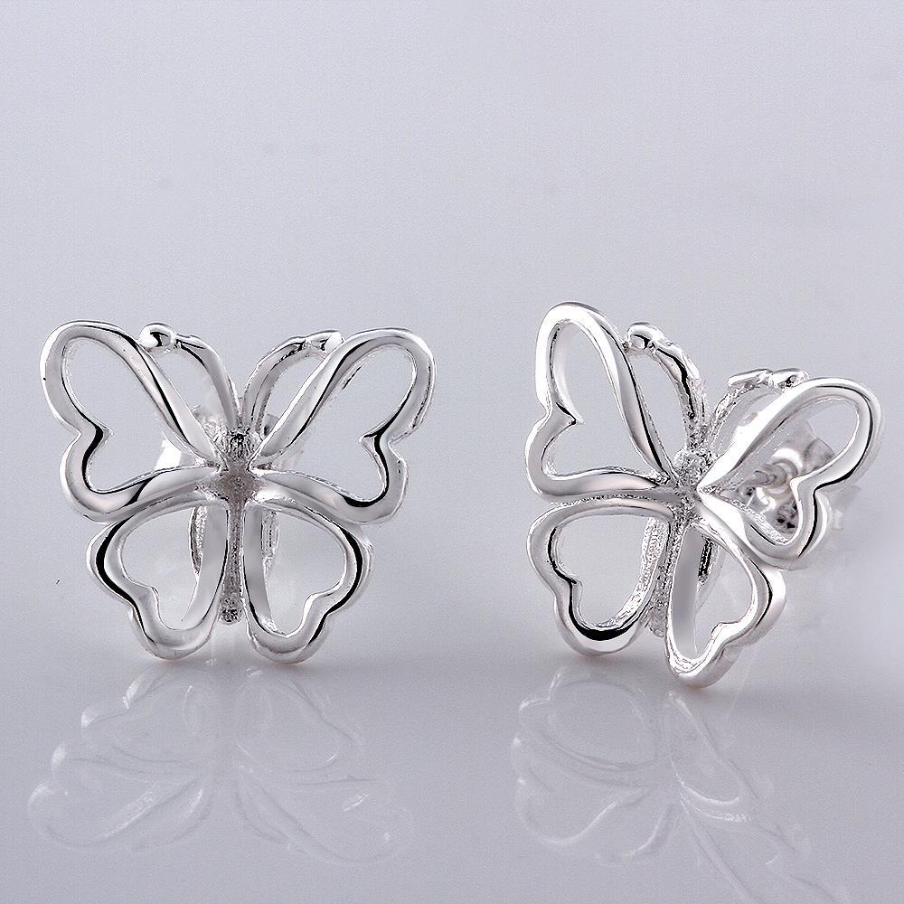 Vienna Jewelry Sterling Silver Hollow Flying Butterfly Stud Earring